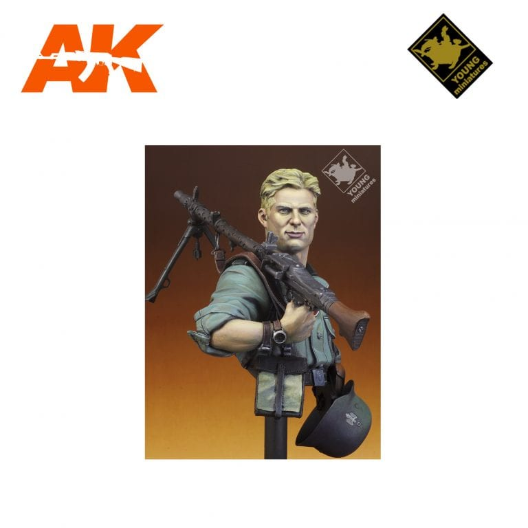 YM YM1829 GERMAN MG34 GUNNER 1941 AK-INTERACTIVE YOUNG MINIATURES