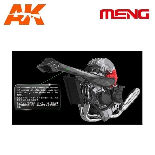 mm mt-001s ak-interactive meng plastic model set kawasaki h2r carbono fiber