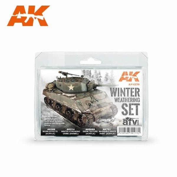 AK4270 WINTER WEATHERING SET AKINTERACTIVE ENAMEL ACRYLIC AFV