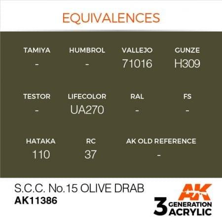 AK11386 S.C.C. NO.15 OLIVE DRAB