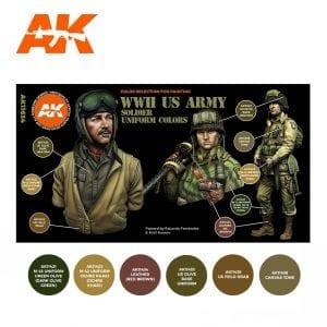 AK11634 WWII US ARMY SOLDIER UNIFORM COLORS